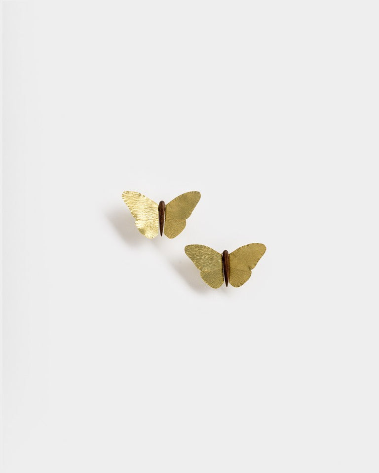 Mariposa Earrings in Brass and Walnut