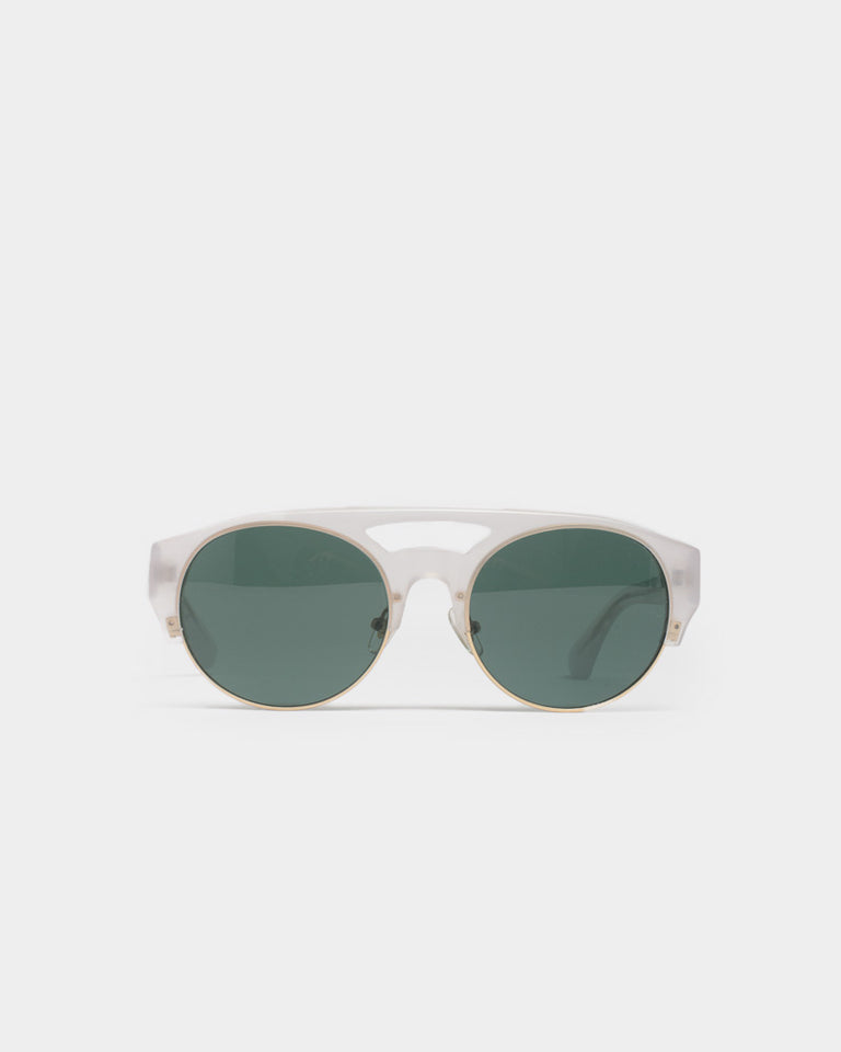 Sunglasses in Milky Ice / Matte Gold / Deep Green