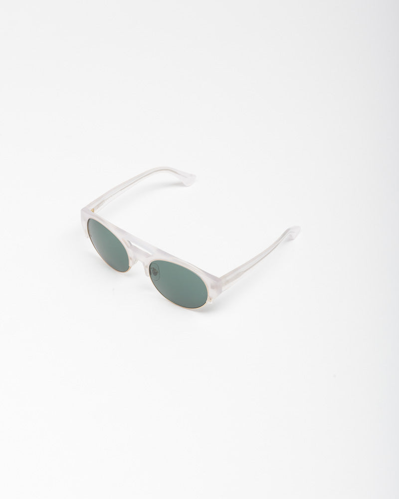 Sunglasses in Milky Ice / Matte Gold / Deep Green by Dries Van Noten x Linda Farrow- Mohawk General Store