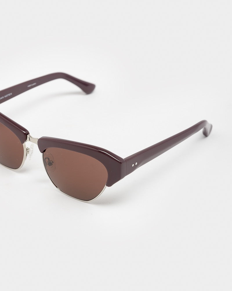 Sunglasses in Aubergine / Silver / Burgundy by Dries Van Noten x Linda Farrow- Mohawk General Store