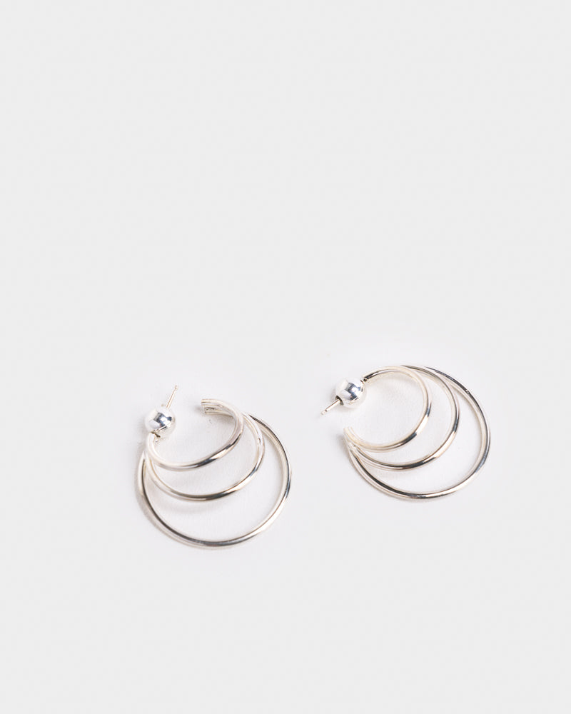 Triple Layered Hoops in Sterling Silver by Sophie Buhai
