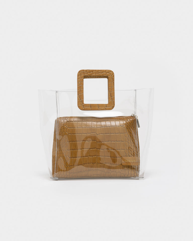 Shirley Bag in Clear / Tan Croc