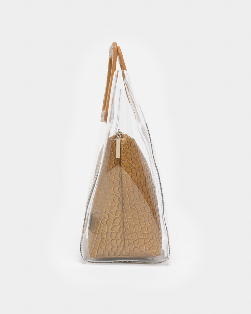 Shirley Bag in Clear / Tan Croc by STAUD- Mohawk General Store
