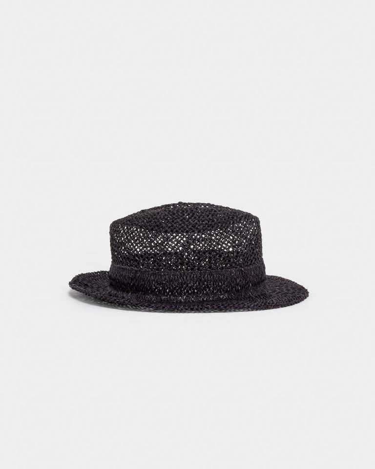 "Chicago Short ""D"" Seagrass Hat in Black"