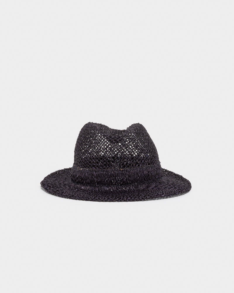 "Chicago Short ""D"" Seagrass Hat in Black by SCHA at Mohawk General Store"