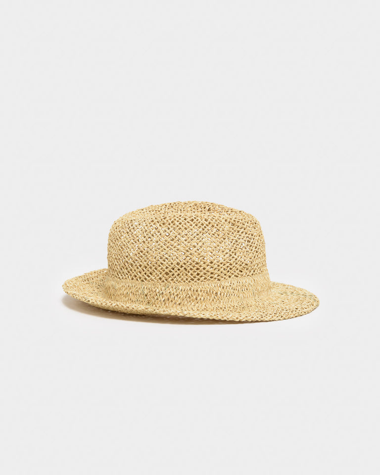 "Chicago Short ""D"" Seagrass Hat in Ecru"