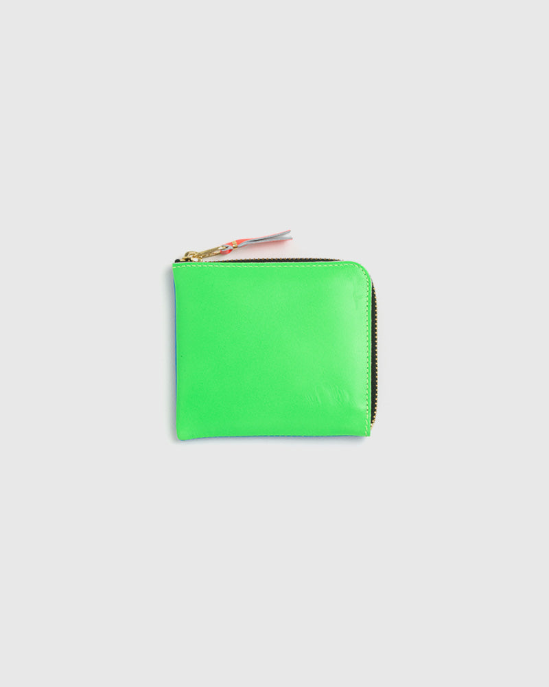 Super Fluorescent Leather Line Wallet 3100SF in Blue / Green