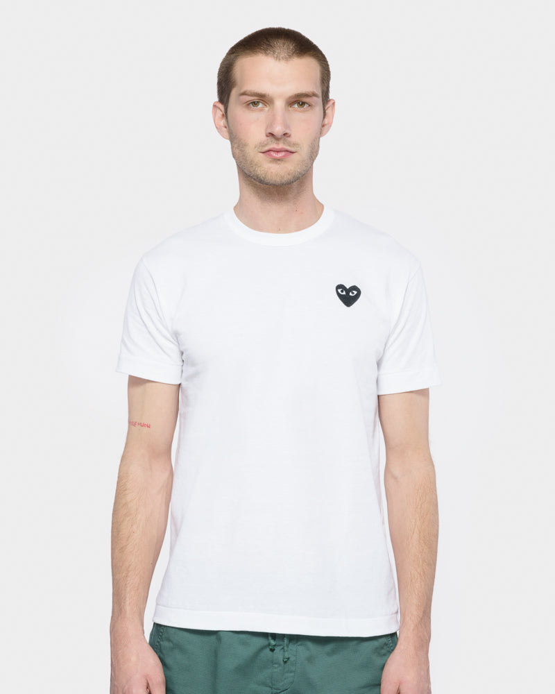 1b36c27b4e96 Black Heart T-Shirt in White by Comme des Garçons PLAY- Mohawk General Store