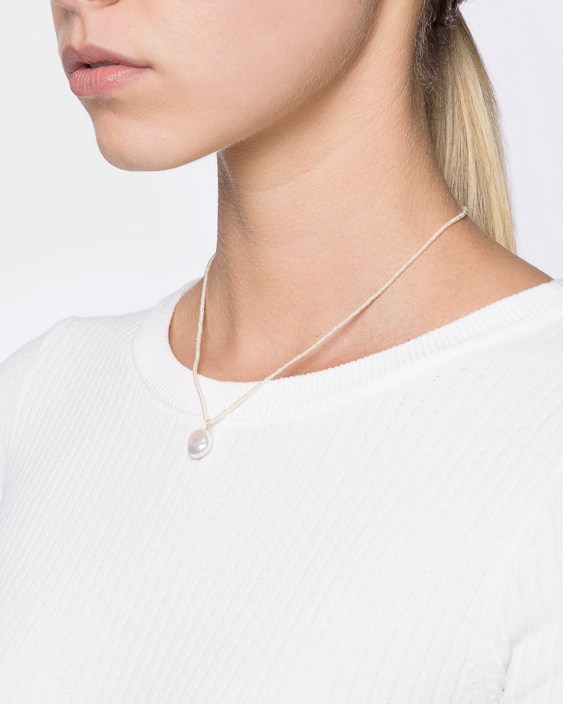 Pearl Seed Necklace with Small Baroque Pearl Charm in 14k Yellow Gold by Grace Lee- Mohawk General Store