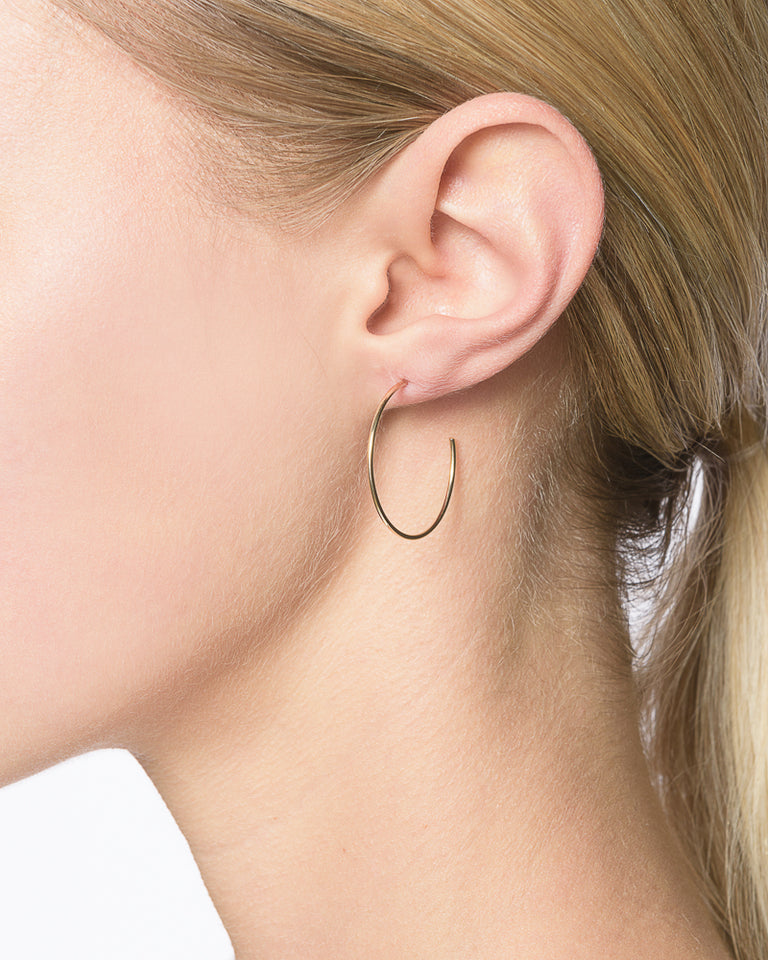 Medium Thread Arc Hoops in 14k Gold
