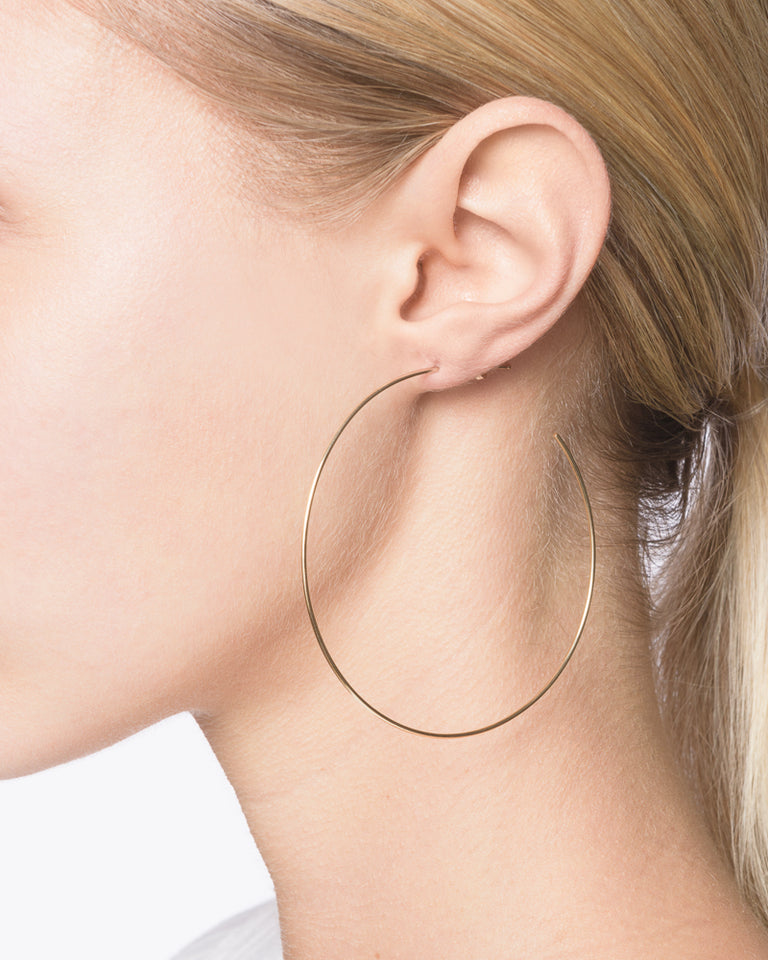 XL Thread Arc Hoops in 14k Gold