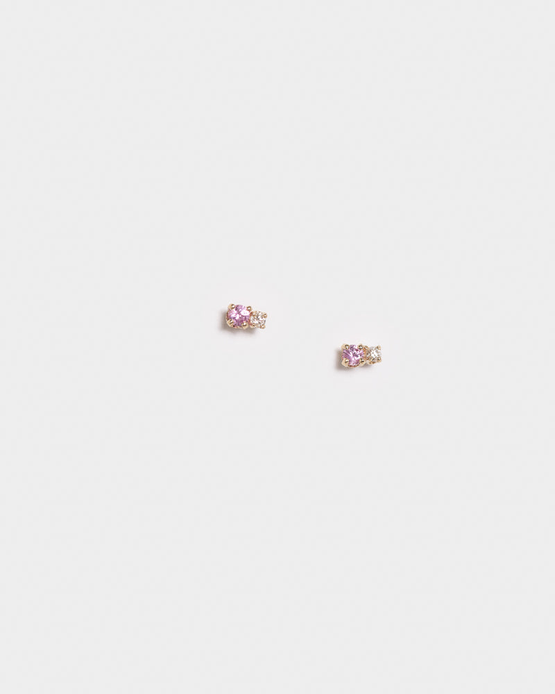 Double D Stud Earrings in Sapphire / Diamond