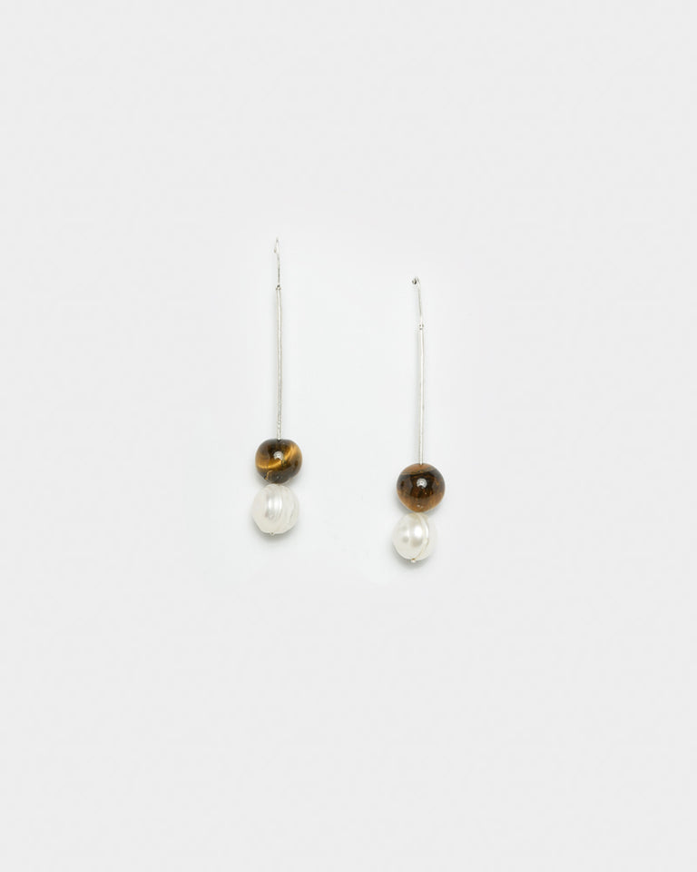 Baroque Pearl And Tiger Eye Drop Earrings in Sterling Silver