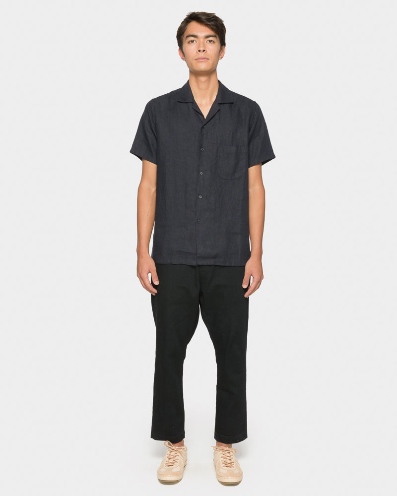 Linen Camp Shirt in Dark Navy