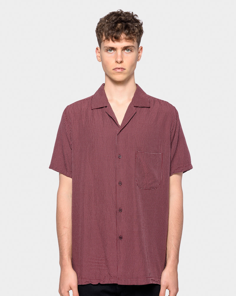 Sashiko Camp Shirt in Burgundy