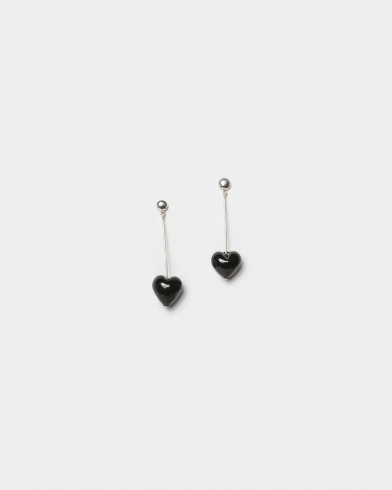 Single Heart Drops Earrings in Black
