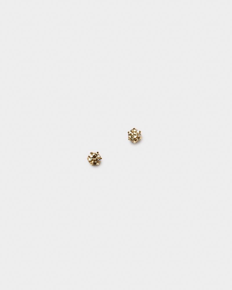 Stud Earrings in 14KY Brown Diamond
