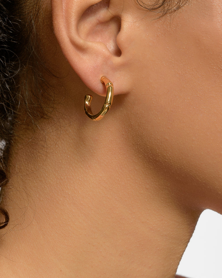 Thin Bamboo Hoops in 18K Gold Vermeil