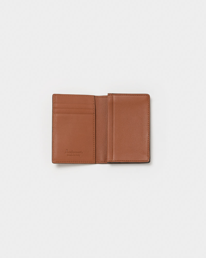 Leather Bifold Card Holder in Brown