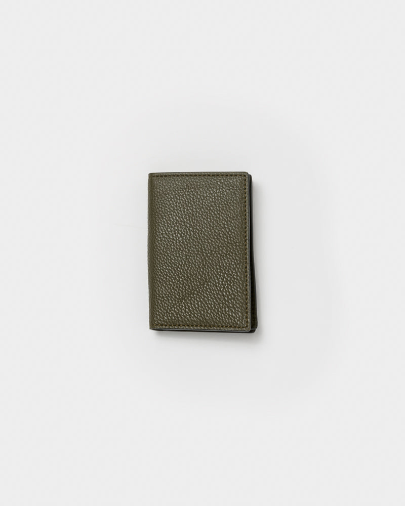 Leather Bifold Card Holder in Olive