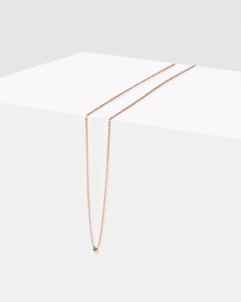 "Rose Gold Flirty Necklace 16"" in Green Diamond"