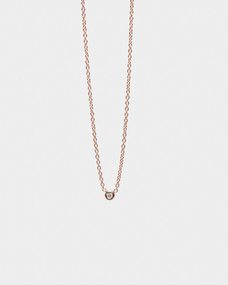 "Rose Gold Flirty Necklace 16"" in White Diamond"