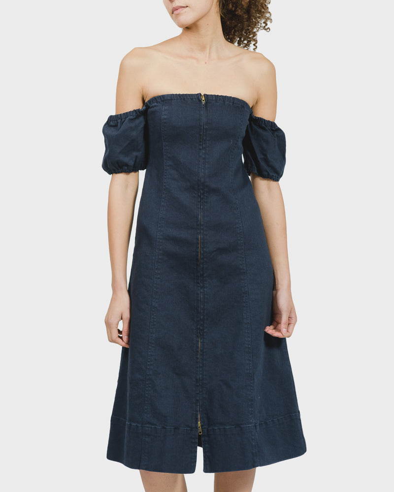Isla Mujeres Off Shoulder Dress in Indigo