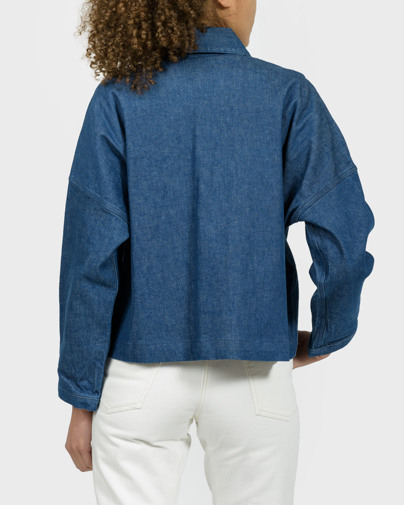 Cropped Mekko Work Coat in Blue Denim
