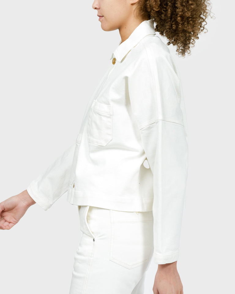 Cropped Mekko Work Coat in White Denim