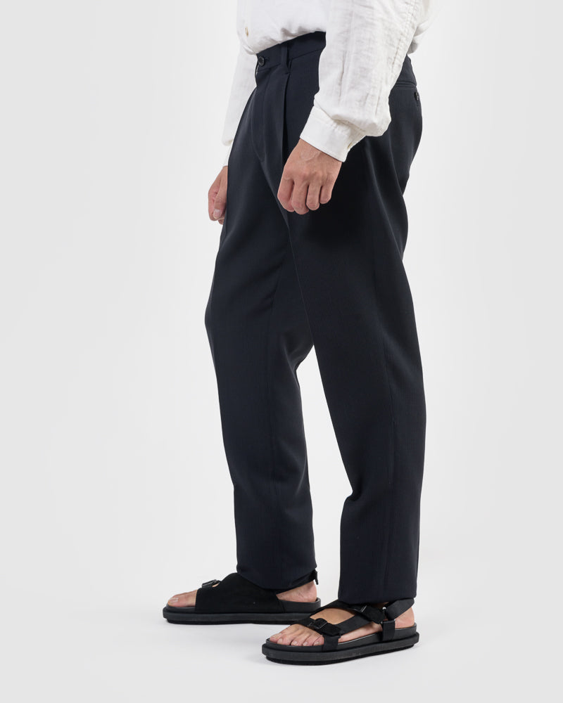 Wool Pinstripe Pants in Black