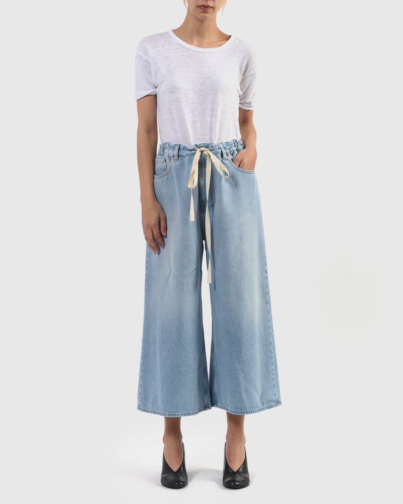 Wide Cropped Denim Pant in Bleach