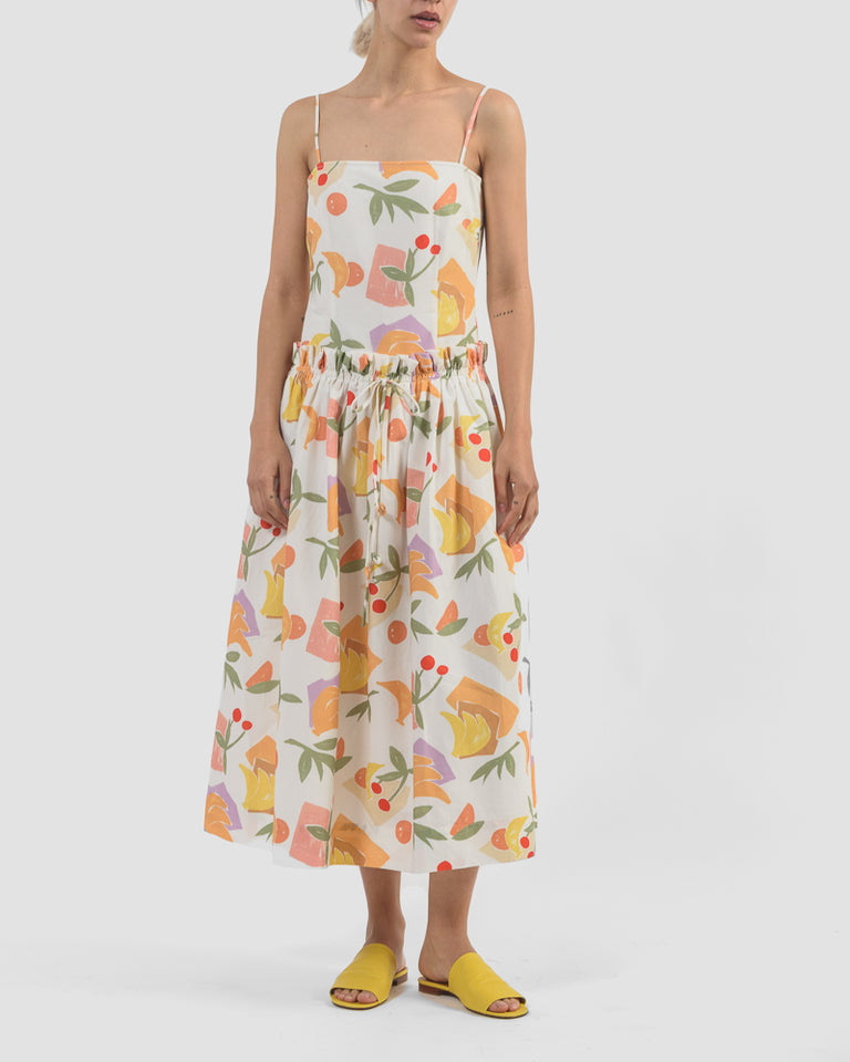 Leah Dress in Bamboo Print Fruit