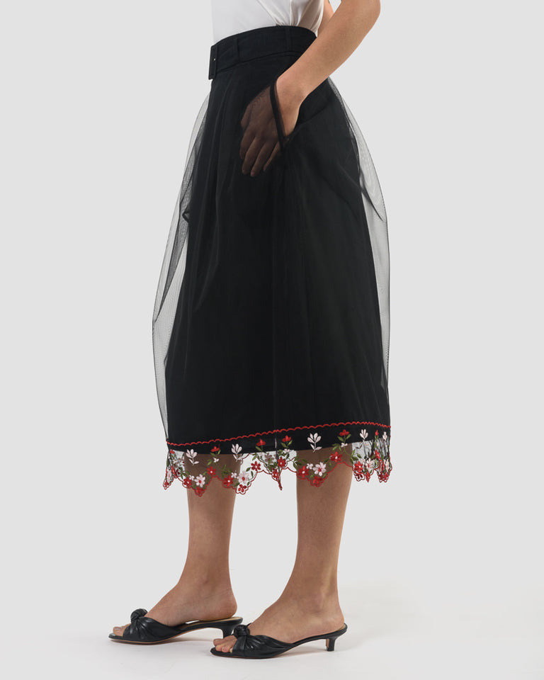 Belted A-Line Skirt in Black and Multi