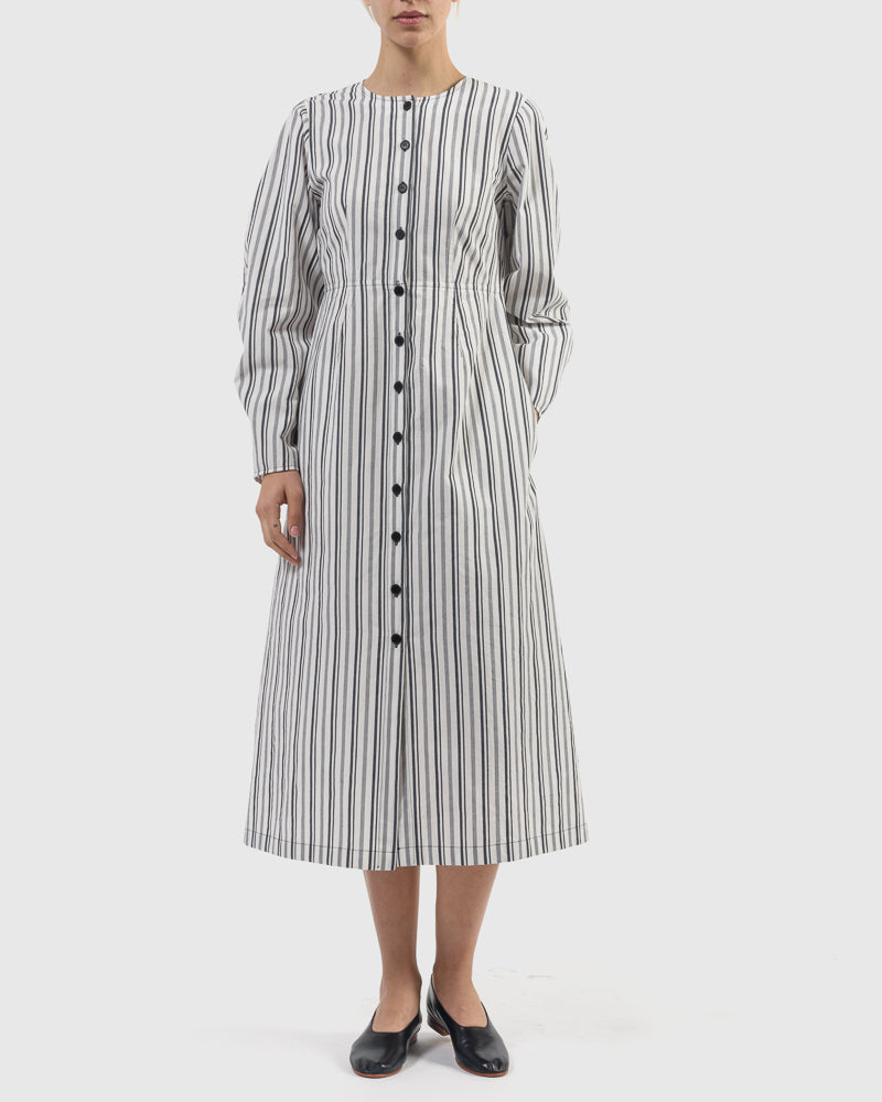 Chelsea Cotton Stripe Coat Dress in Navy Stripe by Yune Ho at Mohawk General Store