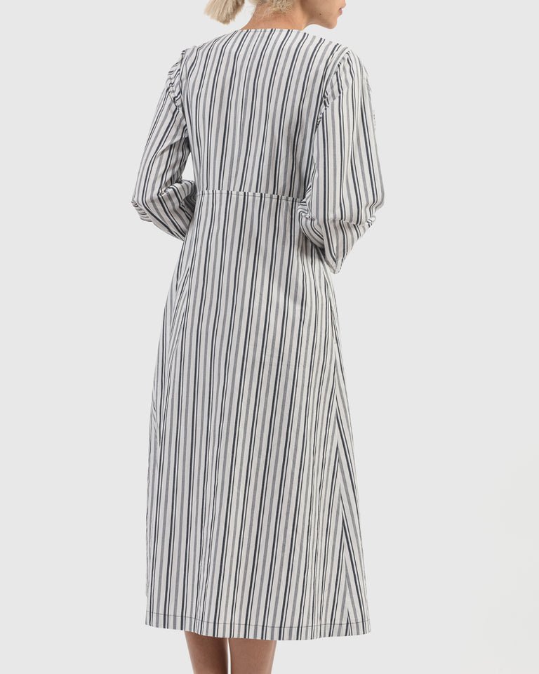 Chelsea Cotton Stripe Coat Dress in Navy Stripe