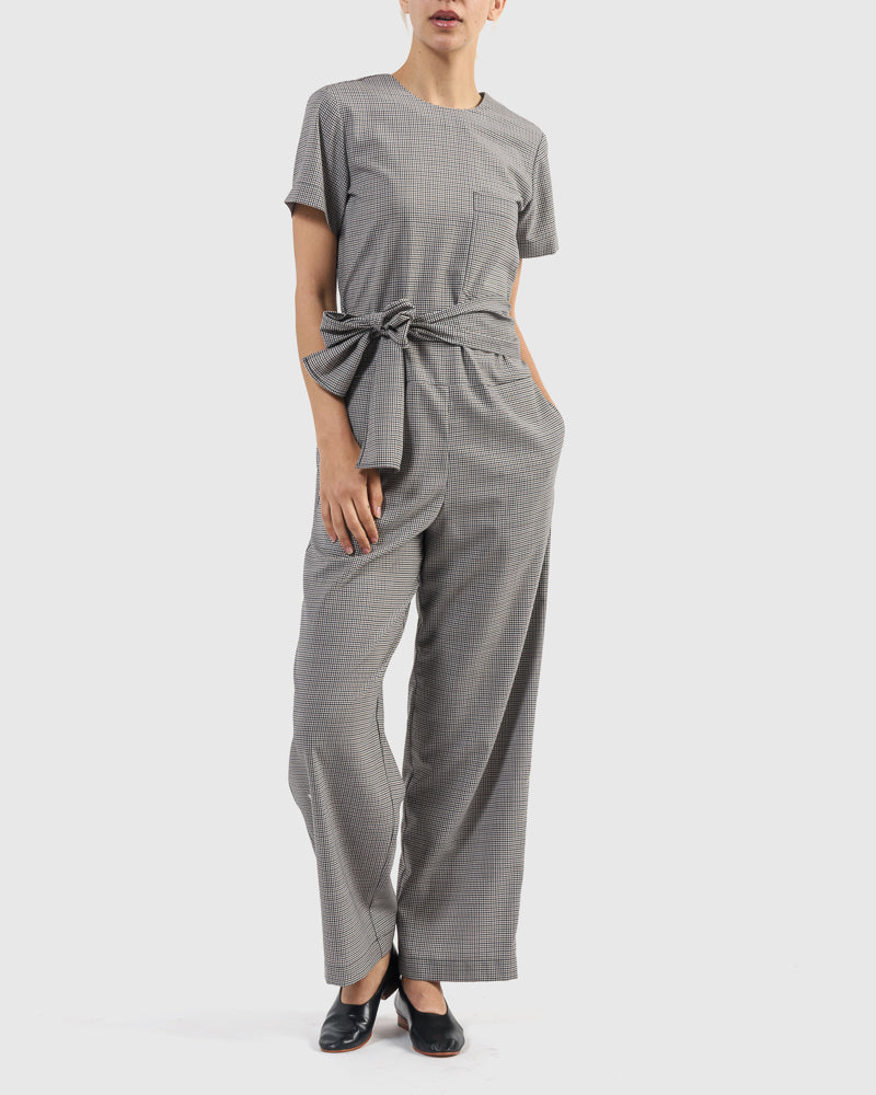 Lane Check Suiting Jumpsuit in Gray Check
