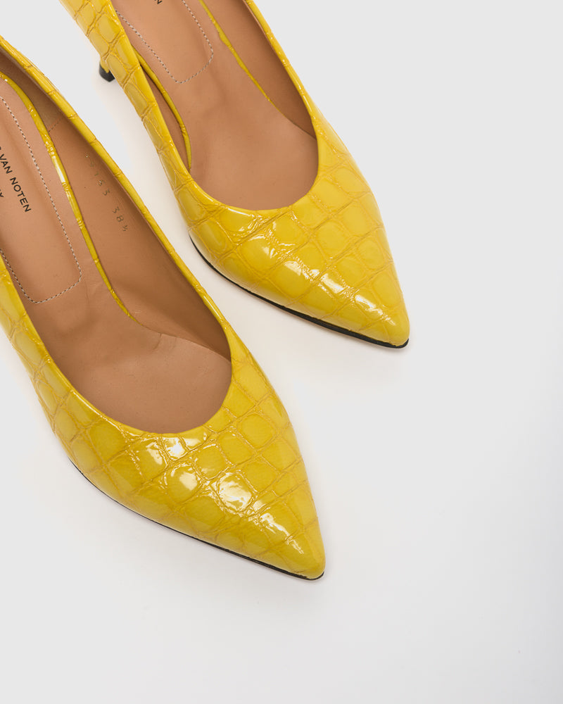 Crocodile Embossed Pump in Yellow by Dries Van Noten Woman at Mohawk General Store
