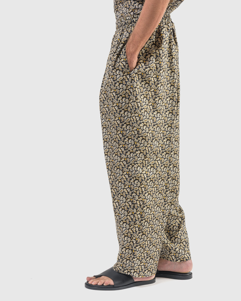 Paisley Silk Pants in Black