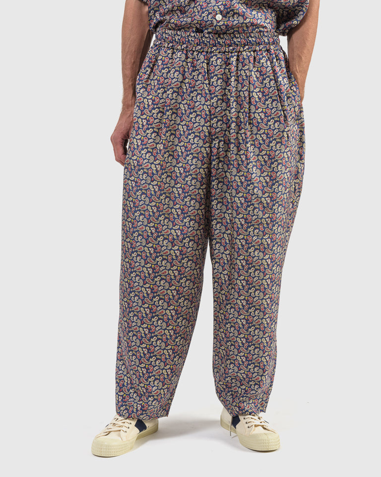 Paisley Silk Pants in Blue