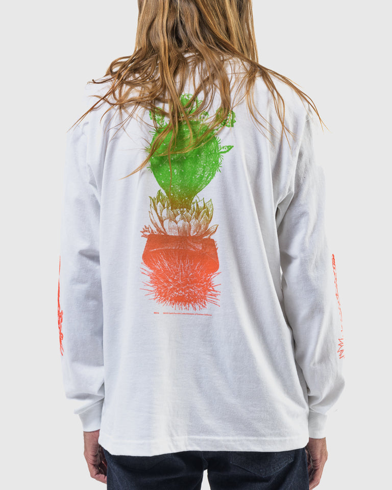 Long Sleeve Tee with Cacti Screenprint in White