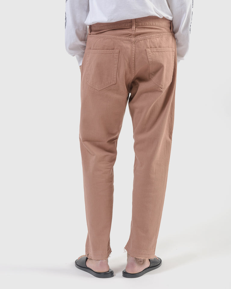 Ventilation Color Jeans in Pink Beige