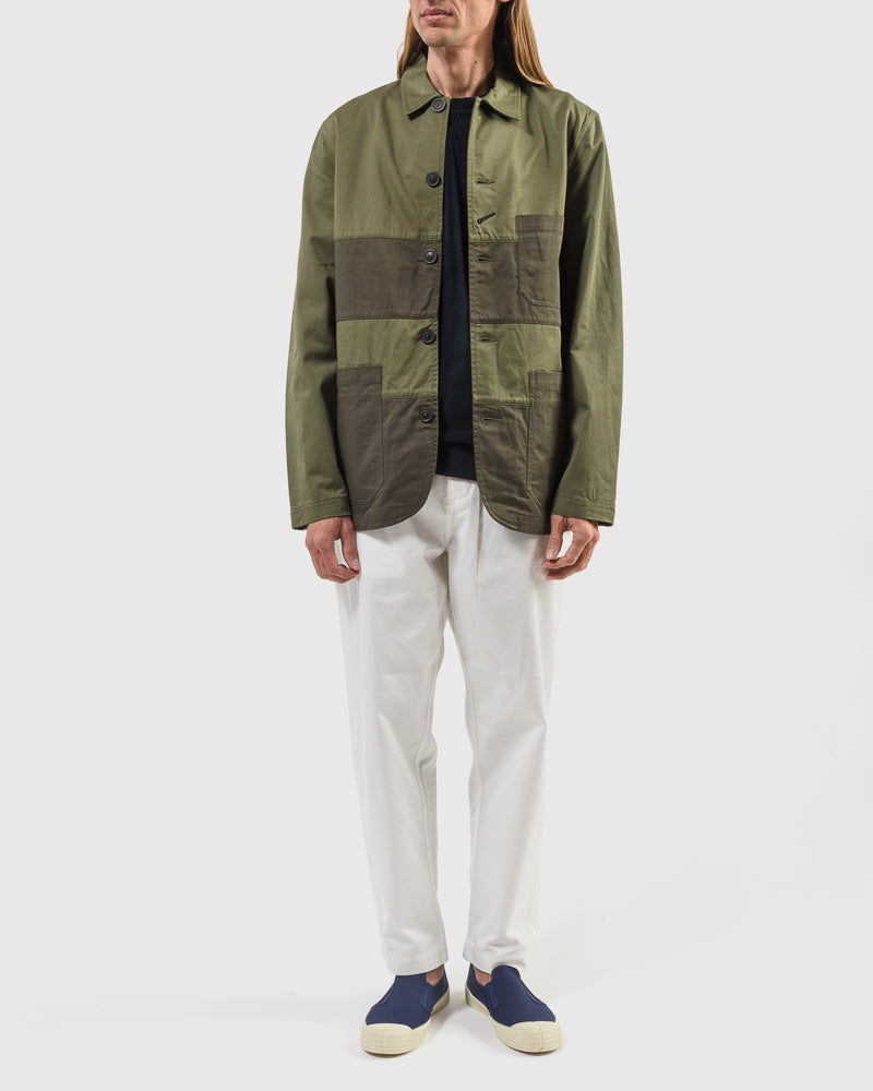 Panel Bakers Jacket in Light Olive