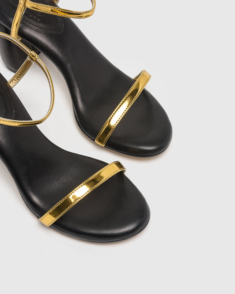 Strappy Metallic Heel in Gold Brush