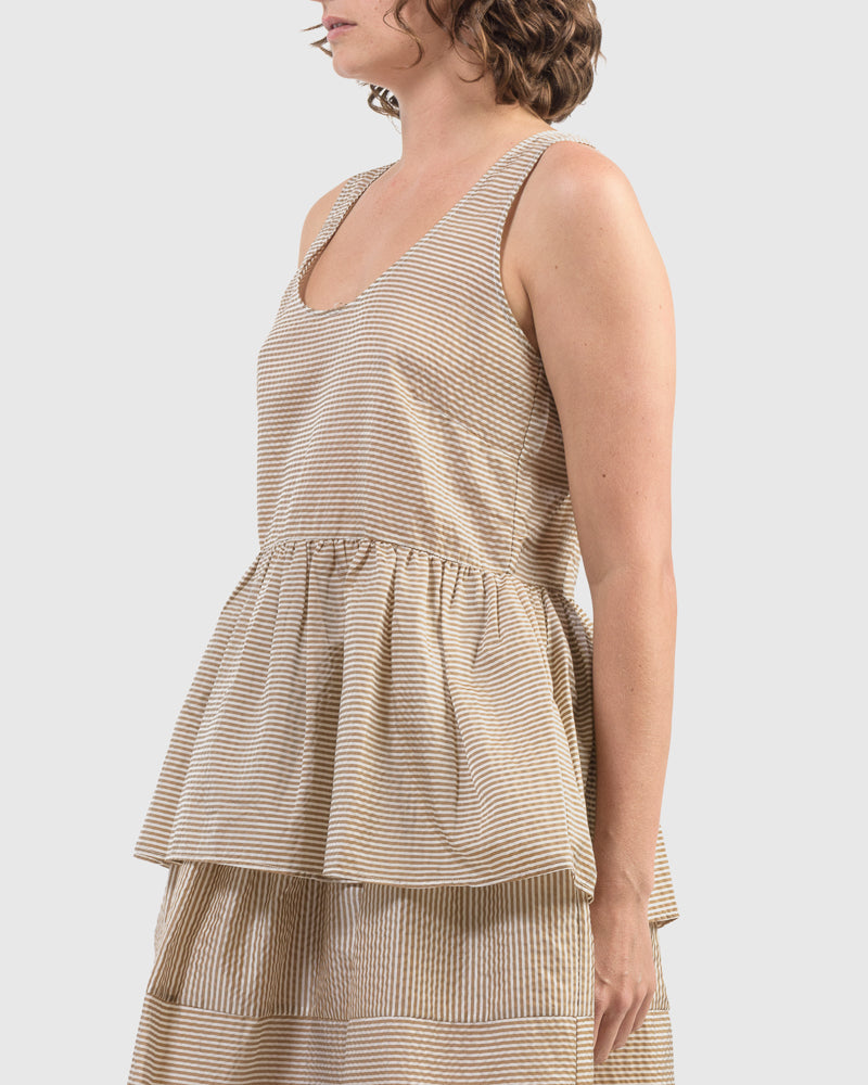 Elba Kate Tank in Brown Pinstripe