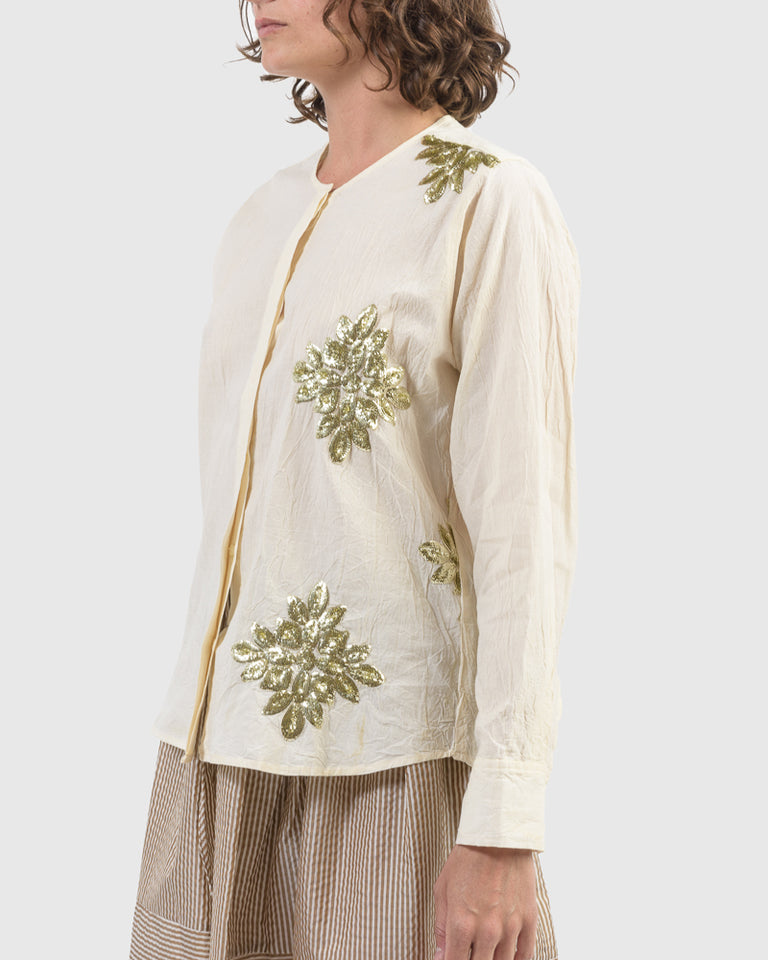 Mia Button Up in Muslin & Appliqué
