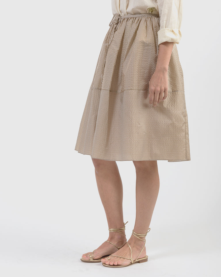 Piper Skirt in Brown Pinstripe