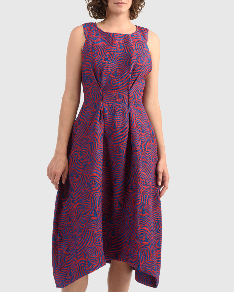 Free Sleeve Dress in Red Blue Storm
