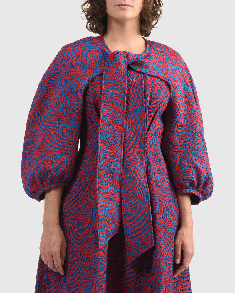 Free Sleeve Dress in Red Blue Storm by Henrik Vibskov at Mohawk General Store
