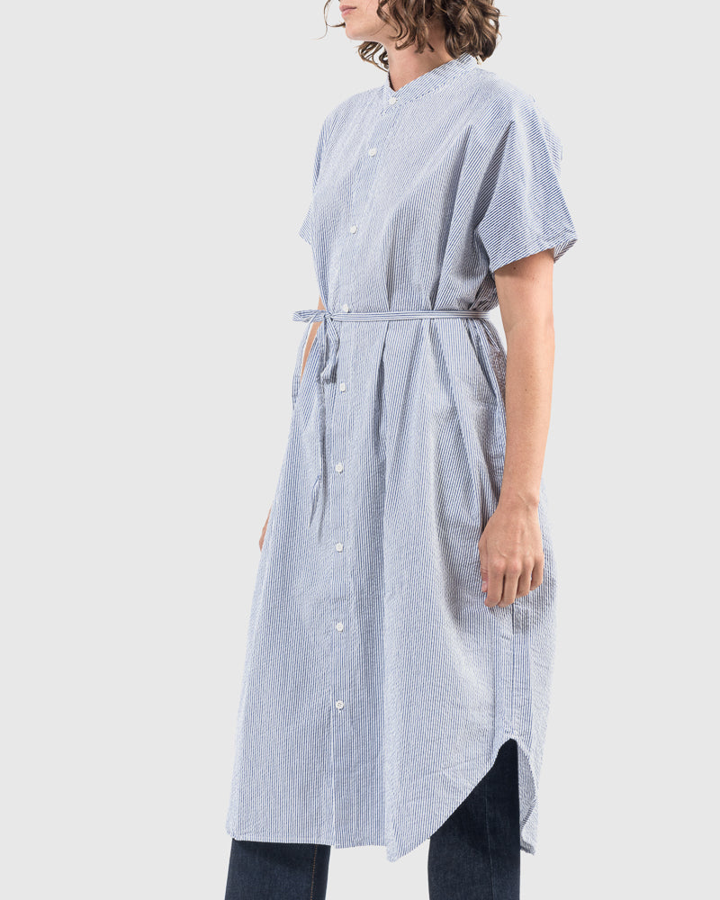Keiko Dress in Blue and White Stripe