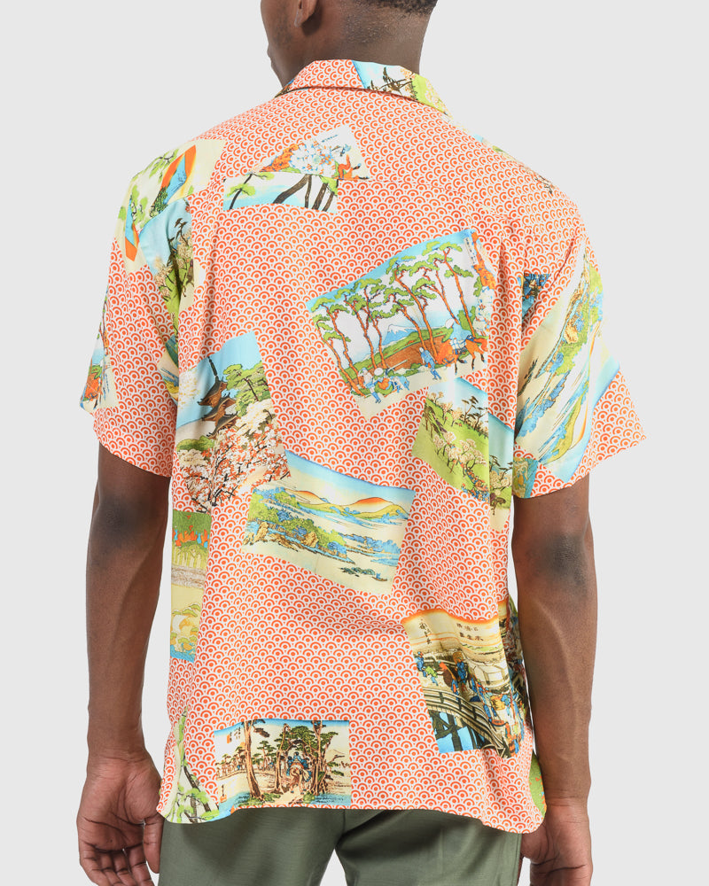 Shirt in Orange Hokusai Print